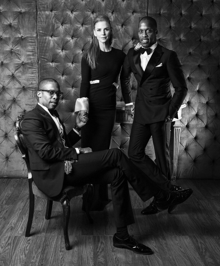 Byron (no glasses), Dexter Peart (glasses) and Actress Sarah Rafferty pose for the CAFA portrait studio held at Fairmont Royal York Hotel on April 15th, 2016 Photo George Pimentel